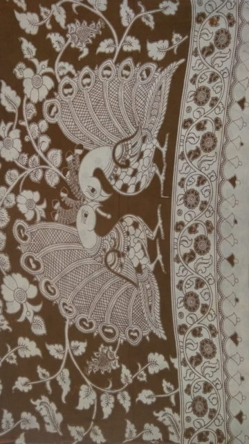 Coffee Brown Coffee Brown & Offwhite Kalamkari Cotton Saree
