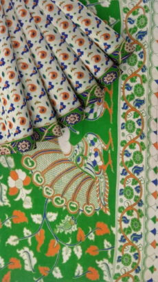 Mehandi Green & Orange Multicolour Kalamkari Cotton Saree-yespoho