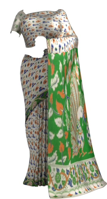 Mehandi Green & Orange Multicolour Kalamkari Cotton Saree Kalamkari Sarees Yespoho Sarees New Arrivals