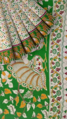 Mehandi Green & Orange Kalamkari Cotton Saree-yespoho