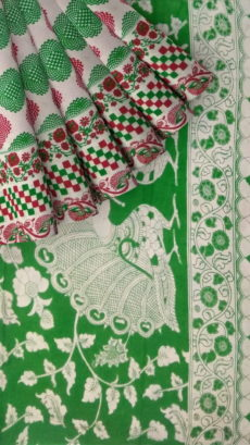 Bottle Green & Pink Kalamkari Cotton Saree-yespoho