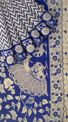 Dark Blue & Offwhite Kalamkari Cotton Saree-yespoho