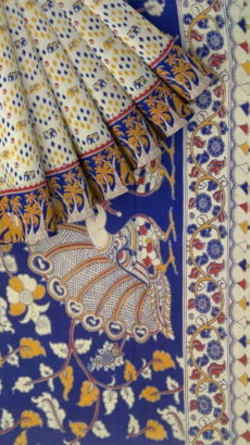 Dark Blue & Yellow Kalamkari Cotton Saree-yespoho