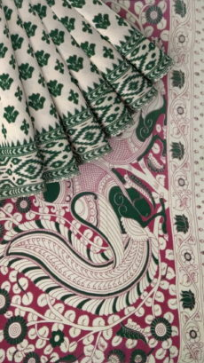 Light Pink & Green Kalamkari Cotton Saree-yespoho