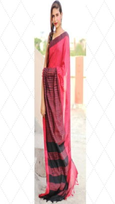 Red Ikat Khadi Handloom Cotton Saree-yespoho