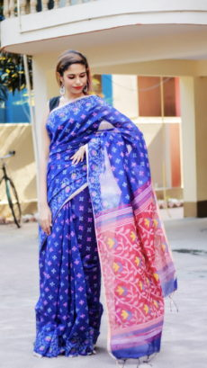 Blue & Red Dhakai Print Handloom Cotton Saree-yespoho