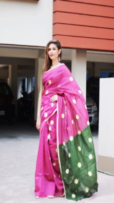 Pink & Green Handloom Embroidered Cotton Saree-yespoho