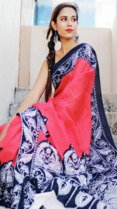 Red & Black Handloom Pure Cotton Saree-yespoho