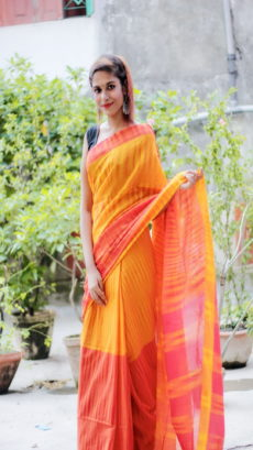 Orange & Red Ikat Khadi Handloom Saree-yespoho