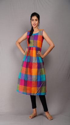 Multi Coloured Sleeveless Cotton Kurti-yespoho