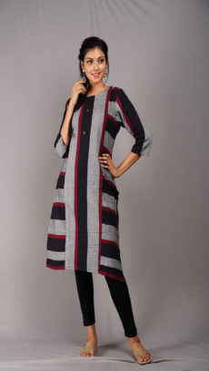 Black & Grey Striped Cotton Kurti-yespoho