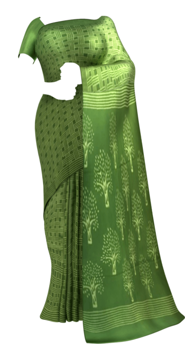 Pista Green Hand Block Print Saree Cotton Sarees Yespoho Sarees Handpicked Collections