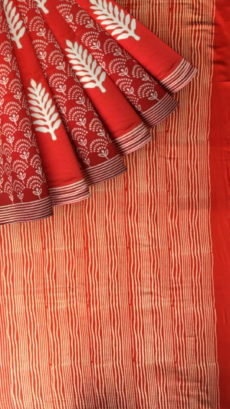 Dark Red & White Designer Hand Block Print Saree-yespoho