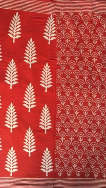 Yespoho Dark Red & White Designer Hand Block Print Saree