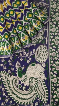 Dark Green & Blue Multicolour Kalamkari Cotton Saree-yespoho