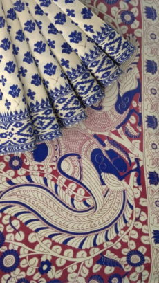 Dark Blue & White Kalamkari Cotton Saree-yespoho