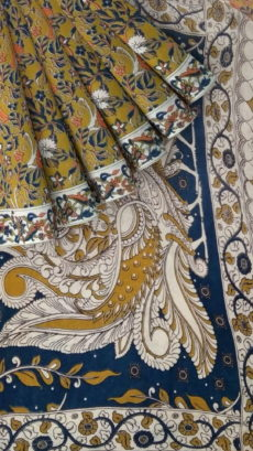 Dark Blue & Dark Sandal Kalamkari Cotton Saree-yespoho