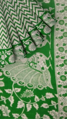 Bottle Green & White Kalamkari Cotton Saree-yespoho