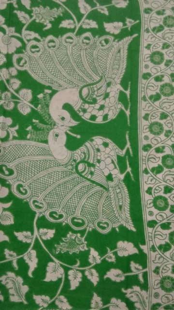 Bottle Green Bottle Green & White Kalamkari Cotton Saree