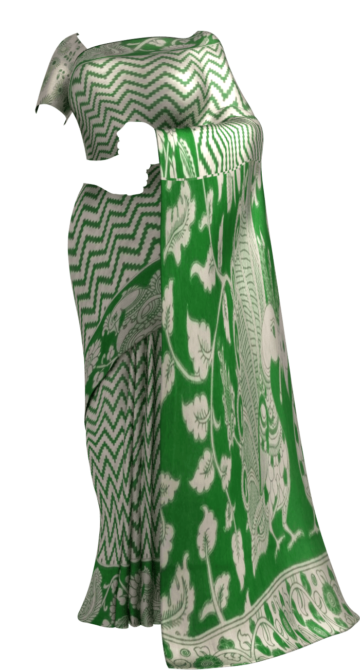 Bottle Green & White Kalamkari Cotton Saree Kalamkari Sarees Yespoho Sarees