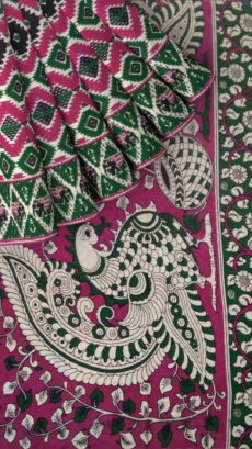 Purple & Bottle Green Kalamkari Cotton Saree-yespoho