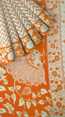 Orange & White Kalamkari Cotton Saree-yespoho