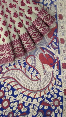 White & Pink Kalamkari Cotton Saree-yespoho