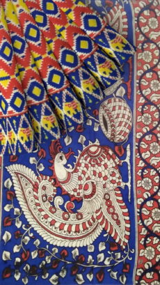 Dark Blue & Red Multicolour Kalamkari Cotton Saree-yespoho