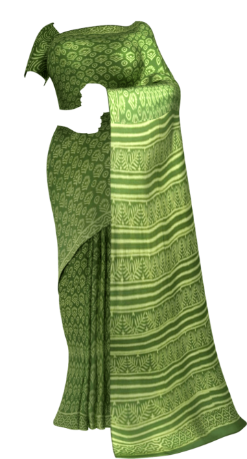 Green Designer Hand Block Print Saree Cotton Sarees Saree25 Yespoho Sarees Handpicked Collections