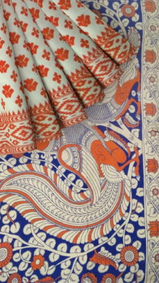 Orange & White Multicolour Kalamkari Cotton Saree-yespoho