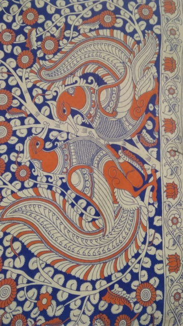Dark blue Orange & White Multicolour Kalamkari Cotton Saree