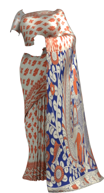 Orange & White Multicolour Kalamkari Cotton Saree Kalamkari Sarees Yespoho Sarees