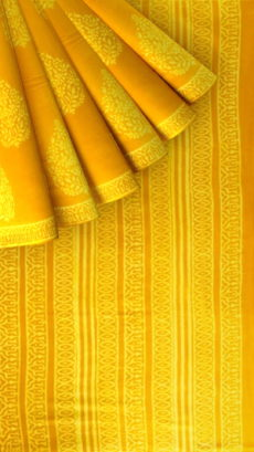 Mustard Yellow Butta Design Hand Block Print Cotton Saree-yespoho