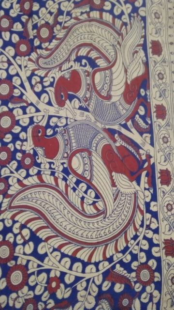 Dark blue White & Pink Kalamkari Cotton Saree