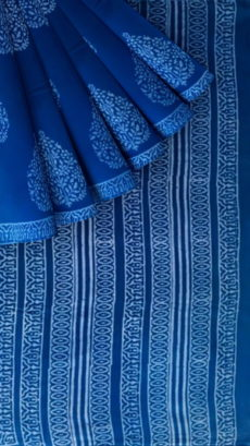 Dark Blue Butta Design Hand Block Print Cotton Saree-yespoho