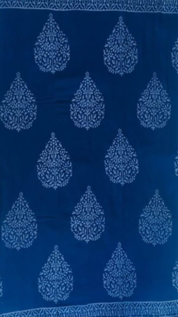 Yespoho Dark Blue Butta Design Hand Block Print Cotton Saree
