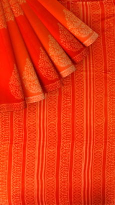 Dark Orange Butta Design Hand Block Print Cotton Saree-yespoho