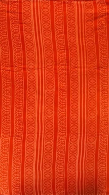 Dark Orange Dark Orange Butta Design Hand Block Print Cotton Saree