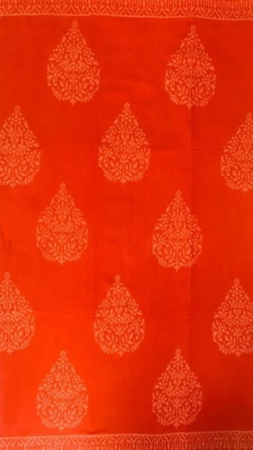 Yespoho Dark Orange Butta Design Hand Block Print Cotton Saree