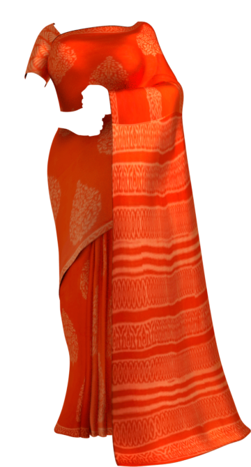 Dark Orange Butta Design Hand Block Print Cotton Saree Cotton Sarees Sankranti Sale Saree25 Yespoho Sarees Handpicked Collections New Arrivals