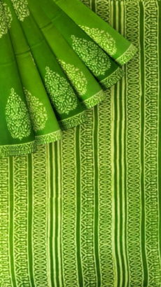 Mehandi Green Butta Design Hand Block Print Cotton Saree-yespoho