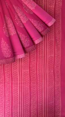 Pink Butta Design Hand Block Print Cotton Saree-yespoho