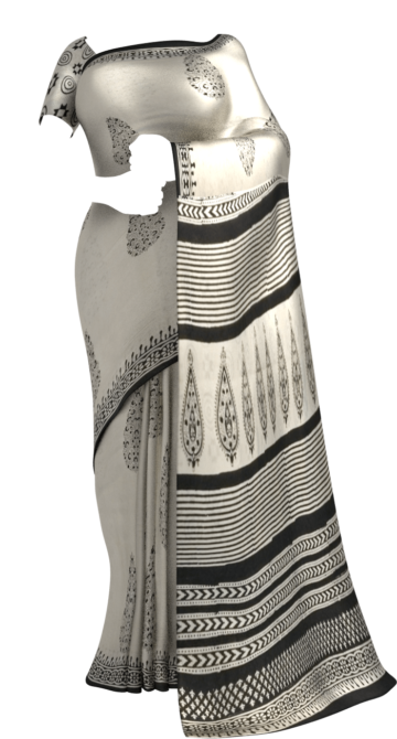 Black & White Designer Bagru Print Cotton Saree Cotton Sarees Happy Holidays Sale Saree25 Thanksgiving Year End Dhamaka Yespoho Sarees Handpicked Collections New Arrivals