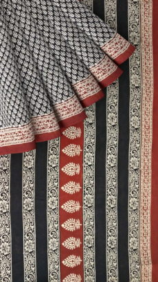 Brick Red & Black Designer Bagru Print Cotton Saree-yespoho
