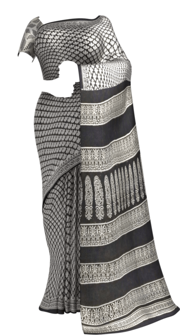 Black & White Designer Bagru Print Cotton Saree Cotton Sarees Thanksgiving Winter Sale Yespoho Sarees Handpicked Collections New Arrivals