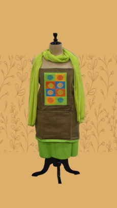 Rustic Brown & Light Green Cotton Dress Material-yespoho