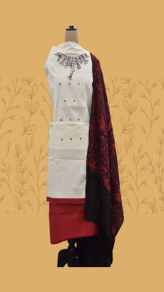 White & Maroon Cotton Dress Material-yespoho