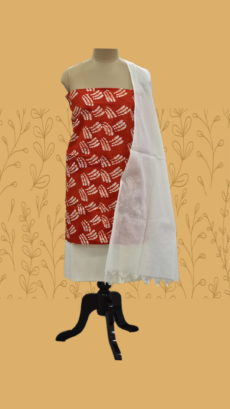 Dark Red & White Cotton Dress Material-yespoho