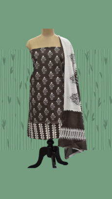 Black & White Cotton Dress Material-yespoho