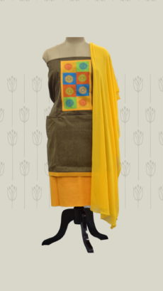 Greyish Brown & Yellow Cotton Dress Material-yespoho